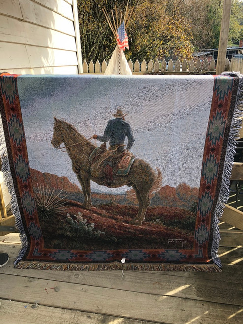 Cowboy on a horse Tapestry.