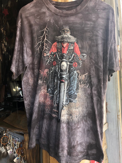 Old Biker on the range mountain t