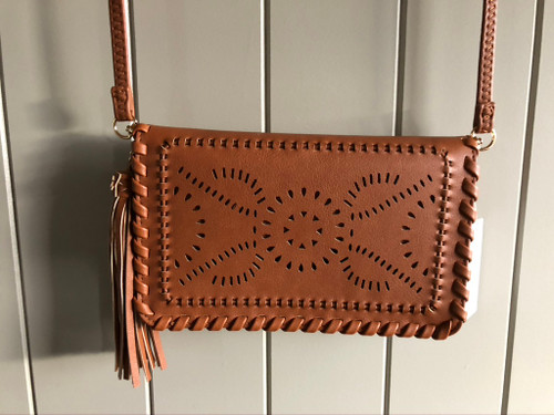 PLU Tan Leather Clutch