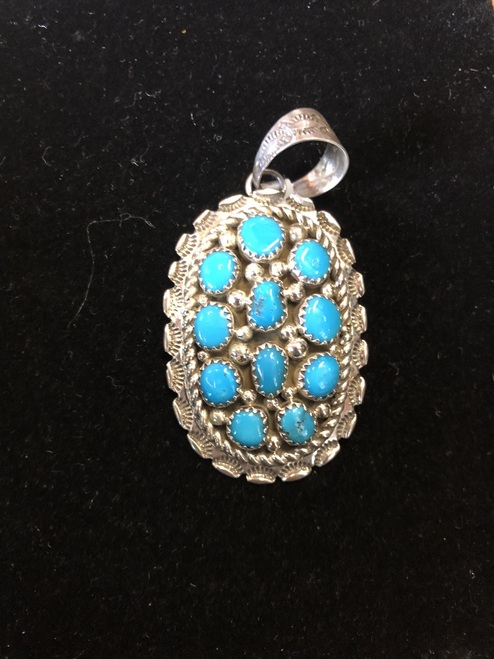 Navajo Turquoise Cluster Pendant.