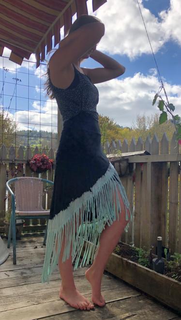 Fringed Teal Skirt