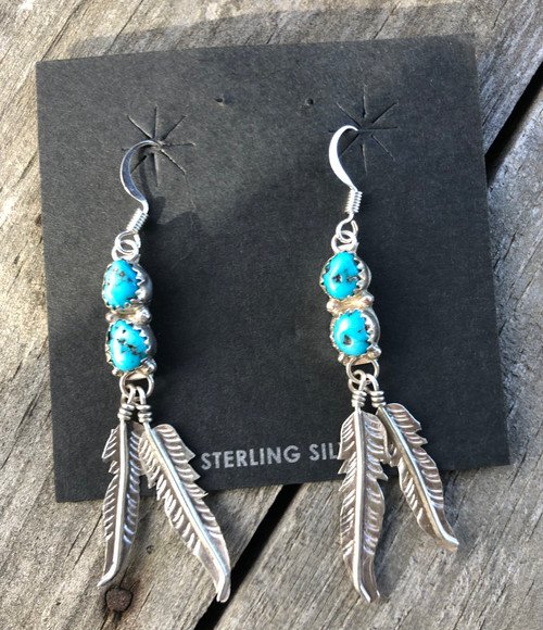 Double Turquoise Drop with Silver Feathers