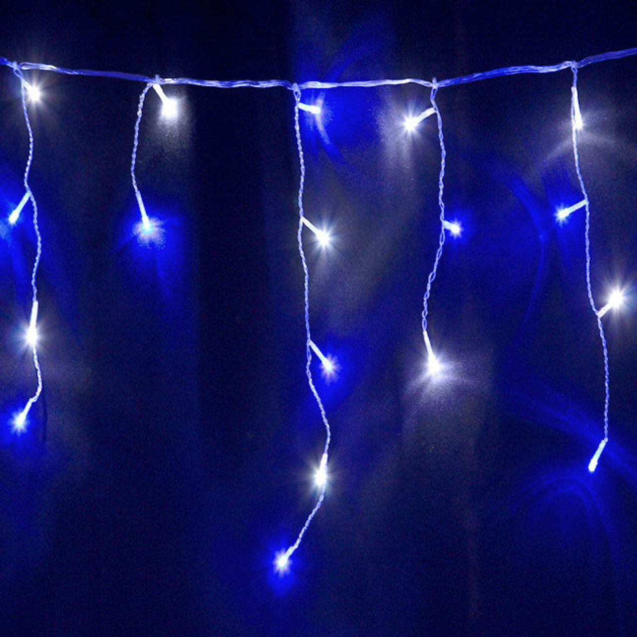 12 5m 292 Led Blue And White Christmas Icicle Lights With 8 Functions Memory