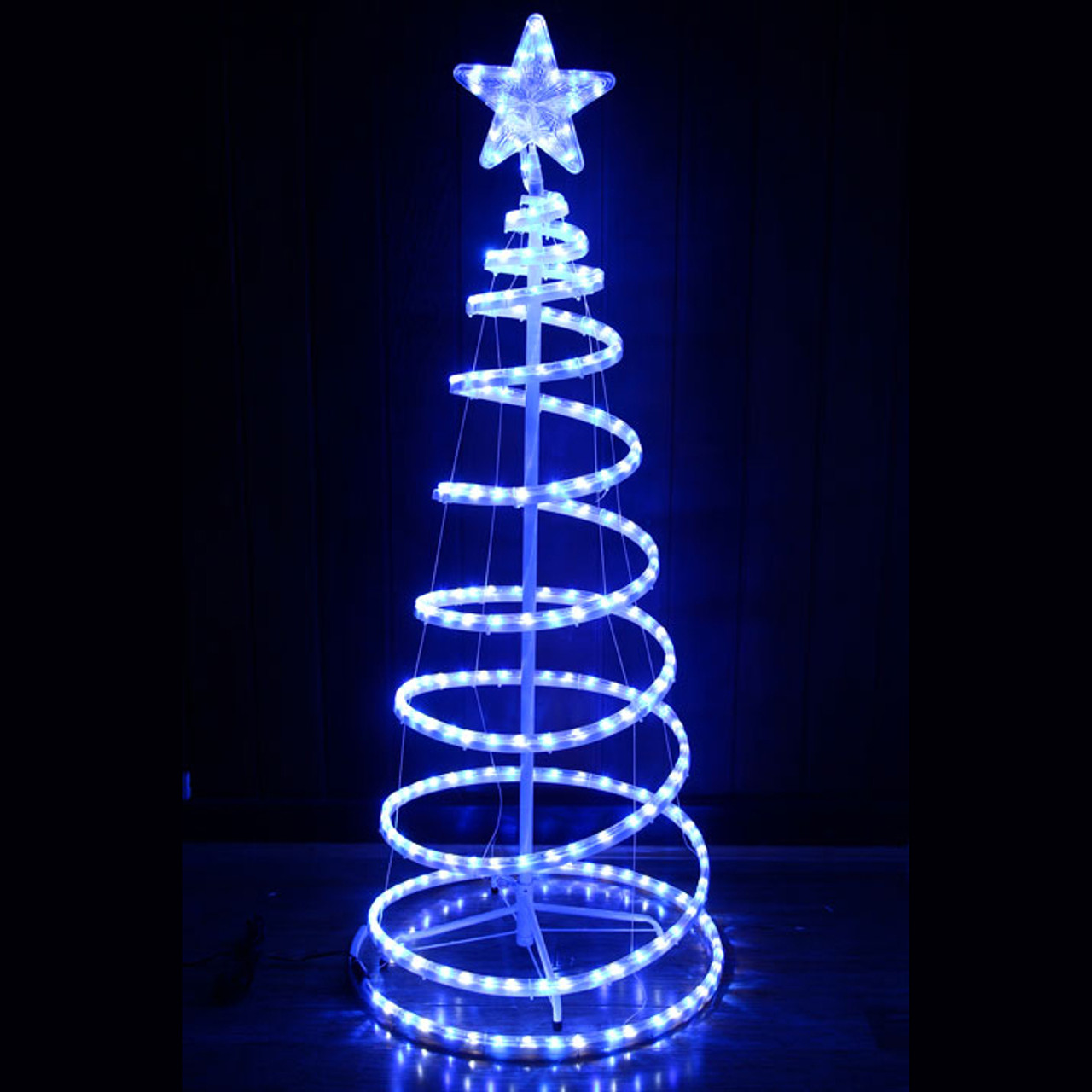 153cm Led White Blue Spiral Christmas Tree And Star Lights
