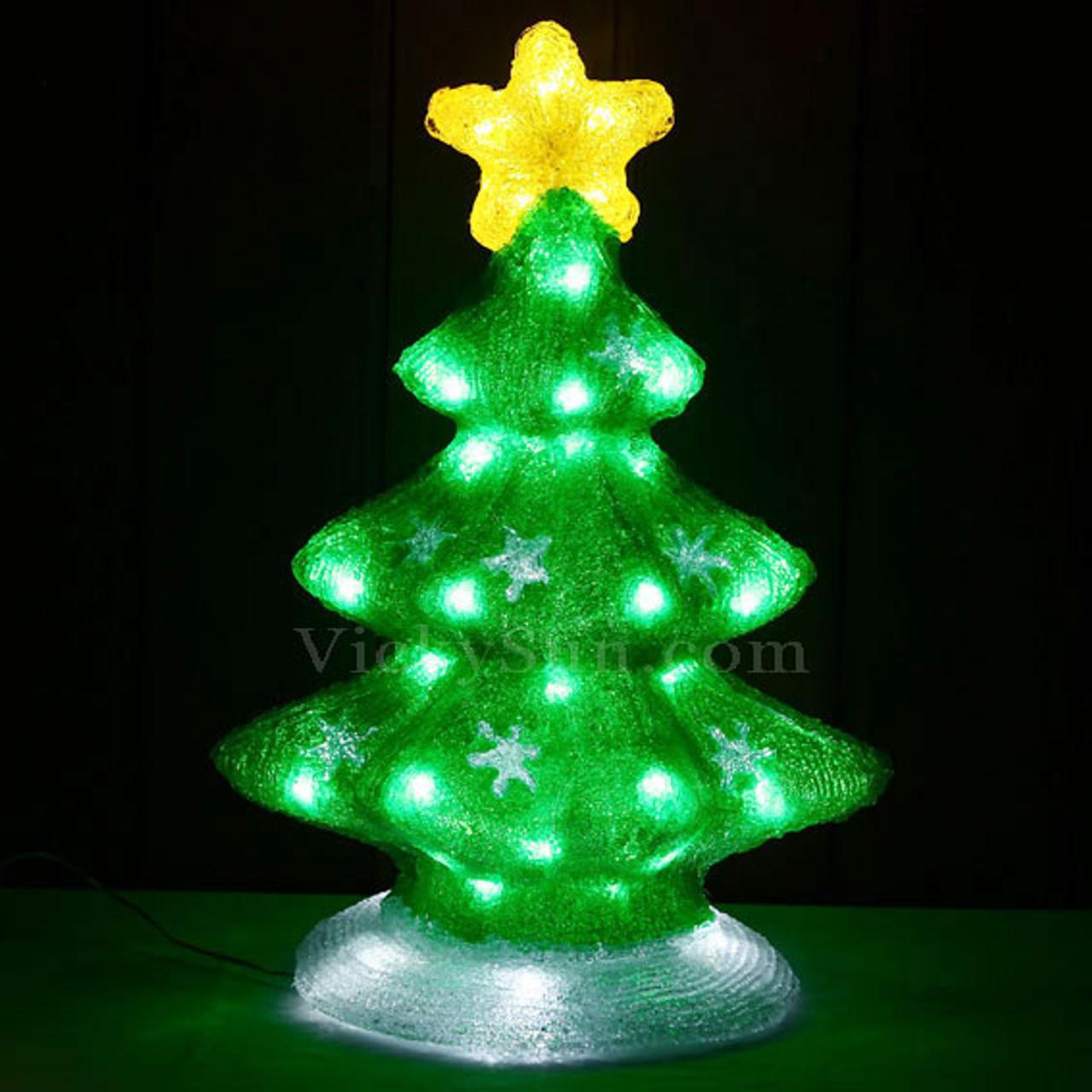 Led Christmas Tree Lights.51cm 3d Acrylic Christmas Green Tree With 60 White Led Christmas Lights