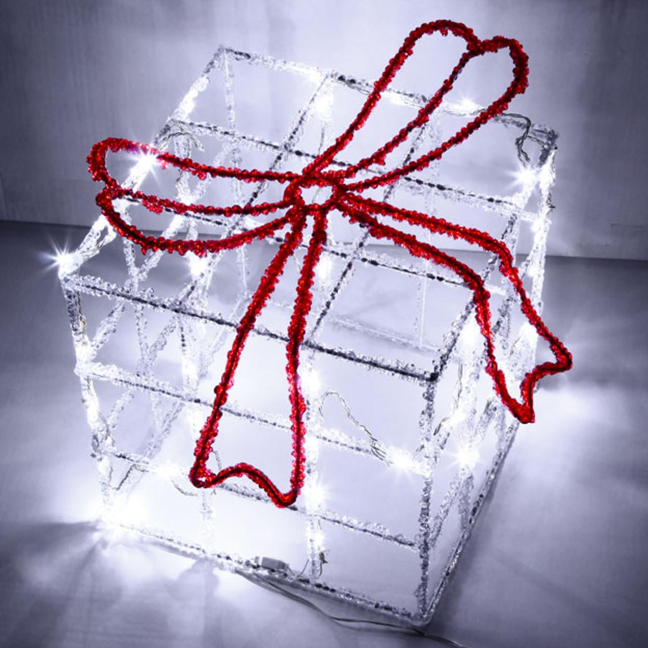 Vickysun Com 41cm 3d Acrylic Christmas Gift Box And Red