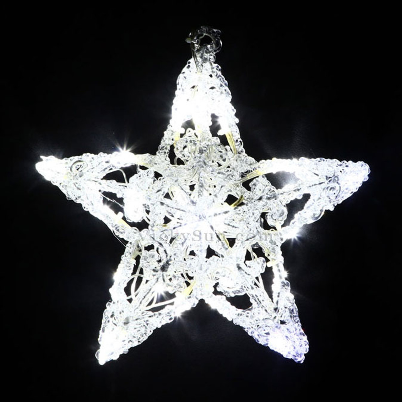 Led Christmas Lights White.25cm 3d Acrylic Star With 24 White Led Christmas Lights