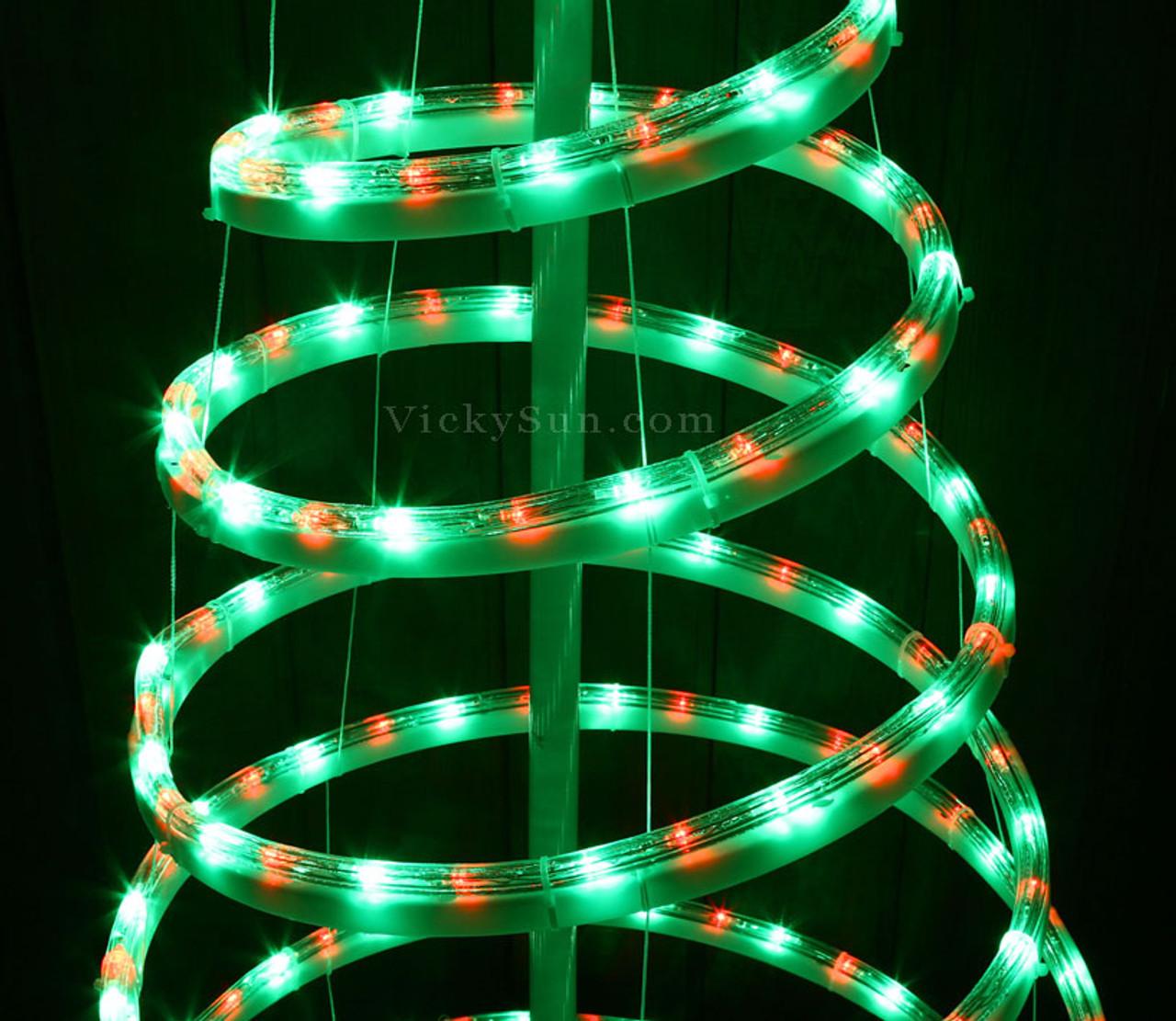 VickySun.com - Animated 153CM LED Red and Green Spiral Christmas Tree and Star Lights (36V Safe ...