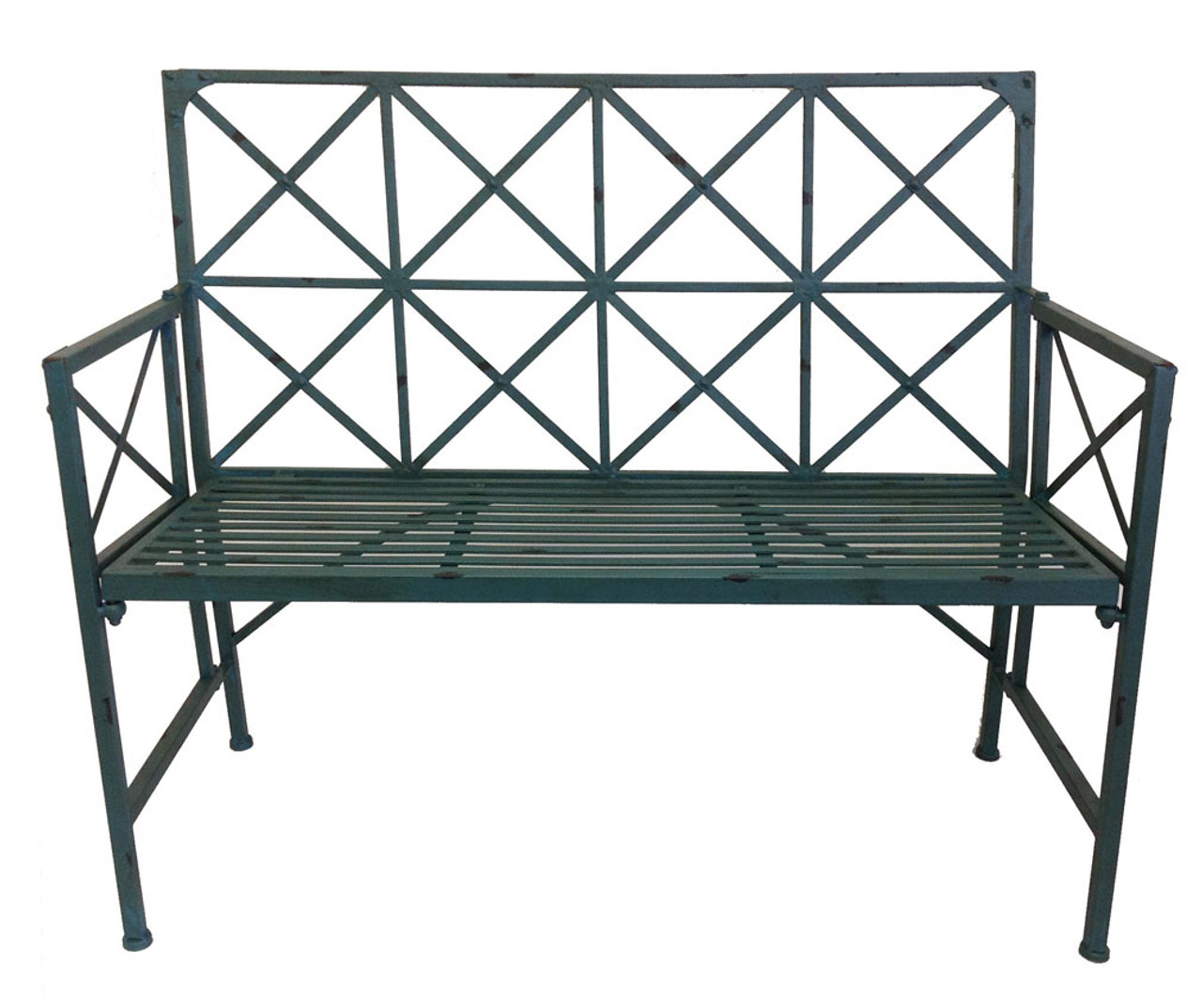 Super French Country Garden Bench Wrought Iron Blue Pabps2019 Chair Design Images Pabps2019Com