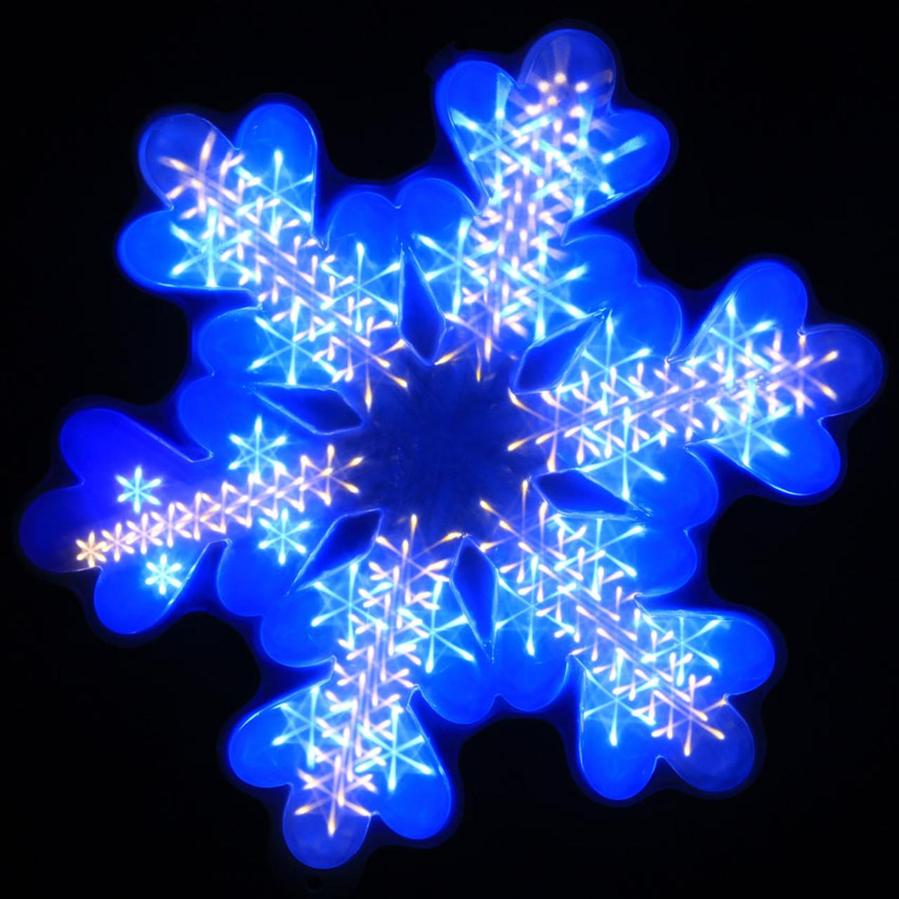 Snowflake Christmas Lights.47cm 3d White And Blue Led Snowfall Function Snowflake Christmas Window Lights