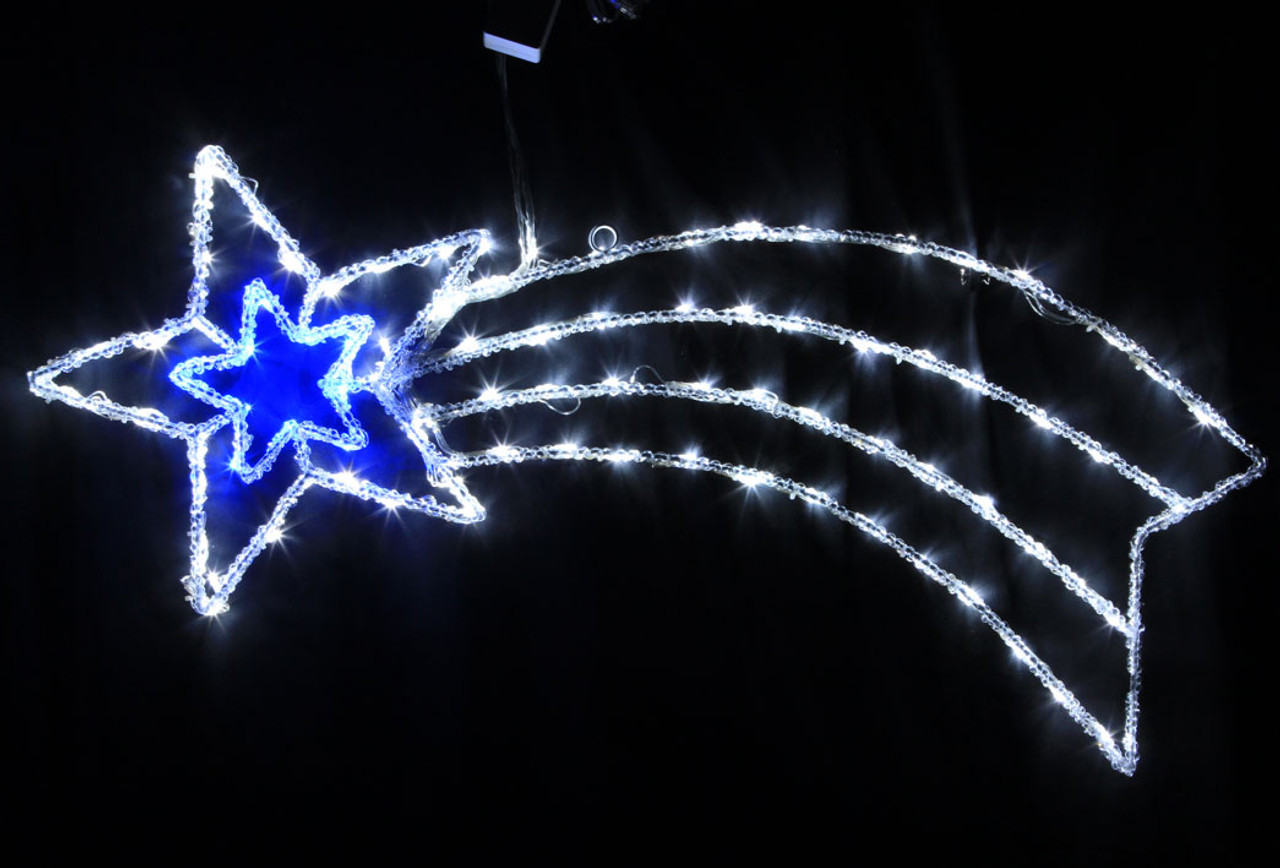 Christmas Lights.95cm Acrylic Comet With 88 Blue And White Led Christmas Lights
