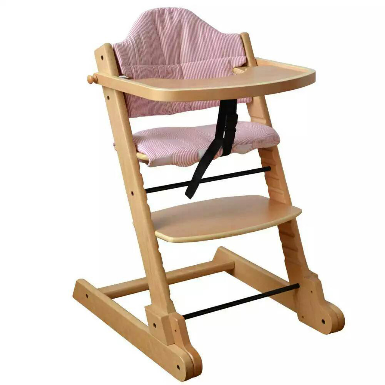 Strong Solid Natural Wooden Foldable Baby High Chair With Tray Pad And 5 Points Safety Straps