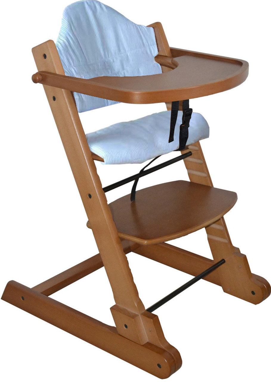 Strong Solid Maple Wooden Foldable Baby High Chair With Tray Pad And 5 Points Safety Straps