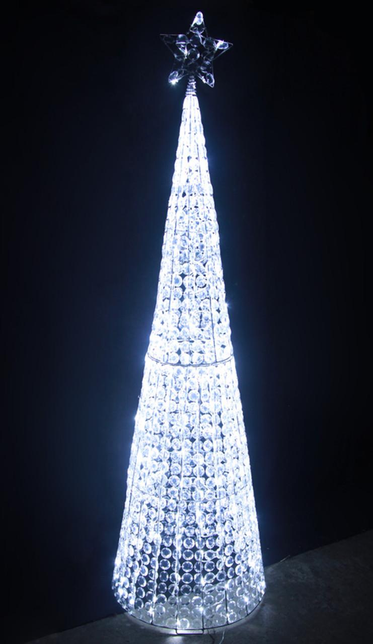 Christmas Tree Lights.167cm 3d Led White Acrylic Beads Cone Tree Christmas Lights