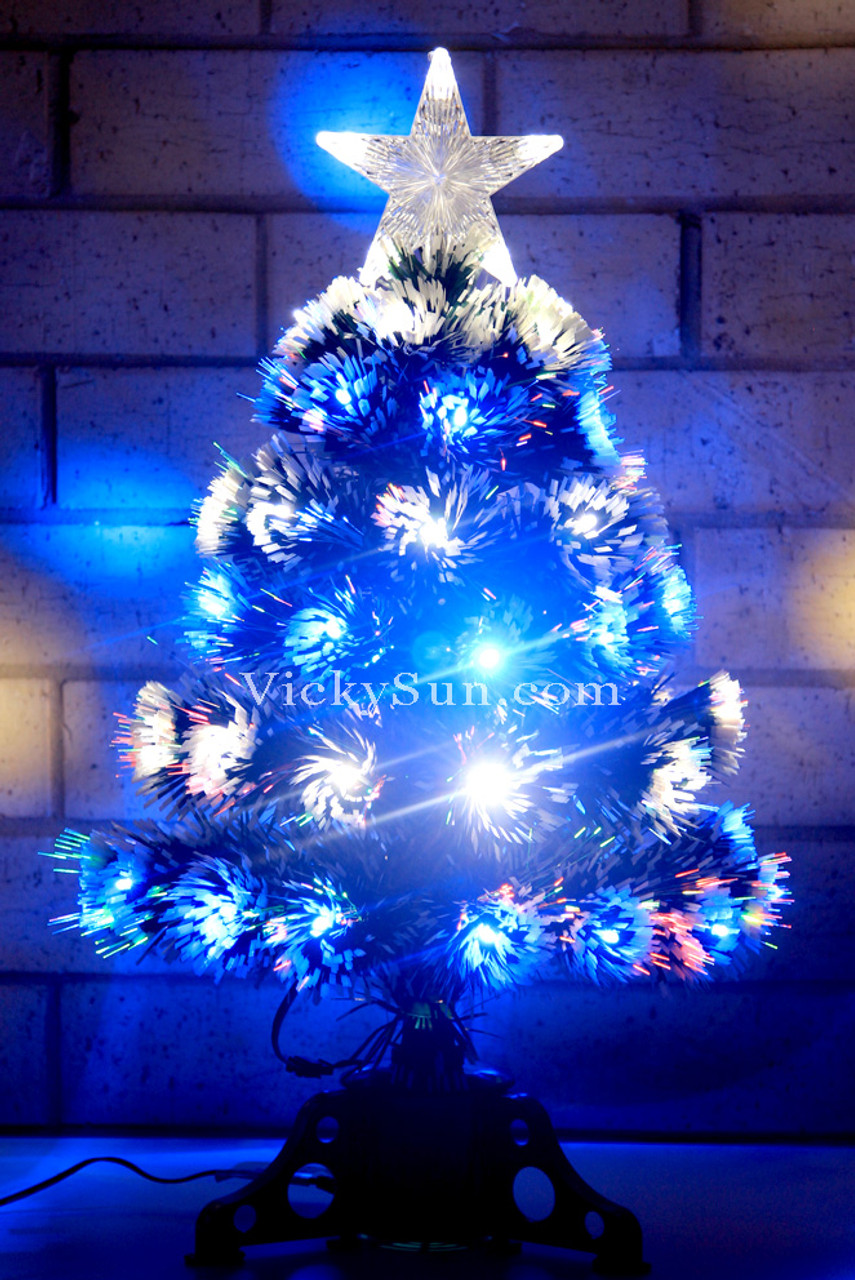 60cm Green Christmas Tree With Blue White Led Lights In Layers Vickysun Com