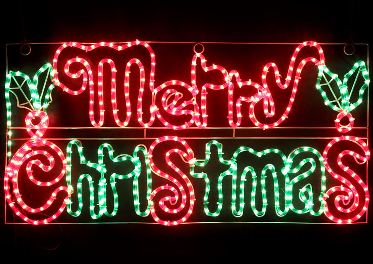Merry Christmas Lights.Animated 104cm Led Merry Christmas Sign With Holly Leaves Motif Rope Lights 36v Safe Voltage