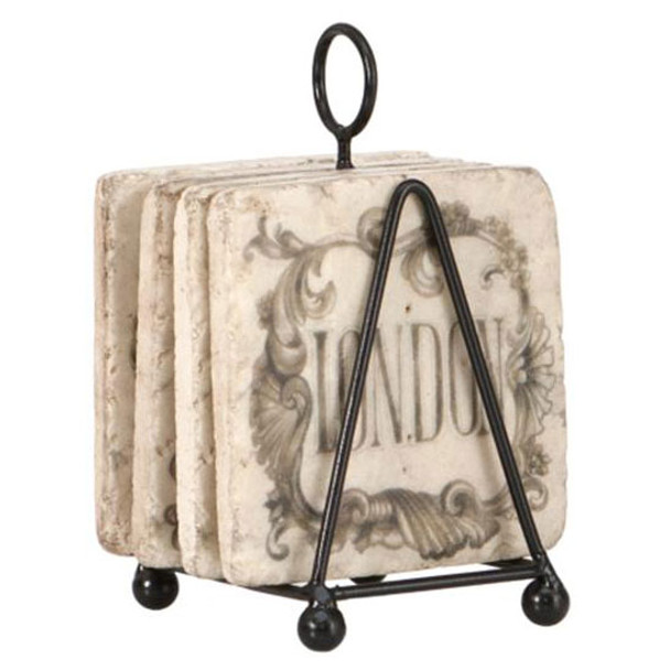 Set 4 Shabby Chic Marble Look City Coasters and Iron Stand