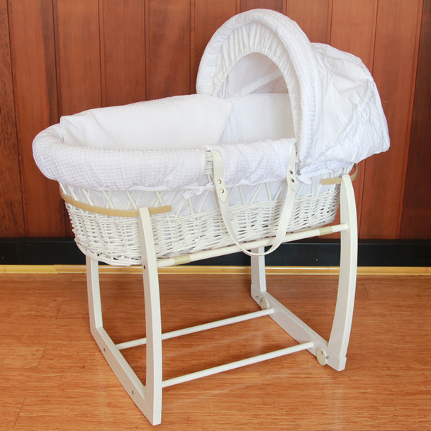 Baby Wicker Bassinet with White Wooden Side to Side Rocking Stand and Waffle White Bedding Set 8164W