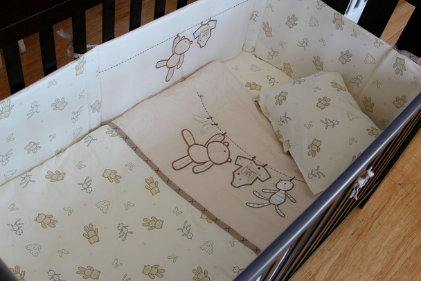 6 Piece Baby Nursery Embroidered Cot Bedding Set Clothesline Baby Bear