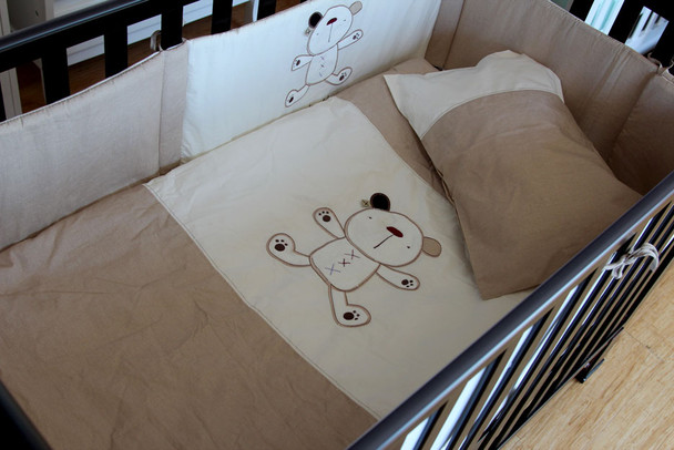 6 Piece Baby Nursery Embroidered Cot Bedding Set My Teddy Cappuccino Bear