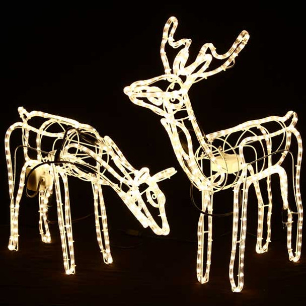Set of 2 Animated 3D LED Warm White Deer Couple Christmas Lights