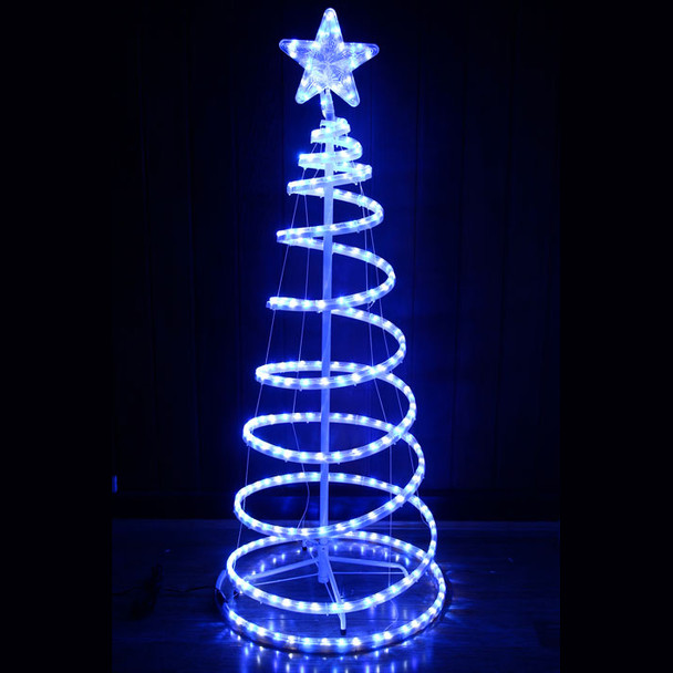 Animated 153CM LED White Blue Spiral Christmas Tree and Star Lights