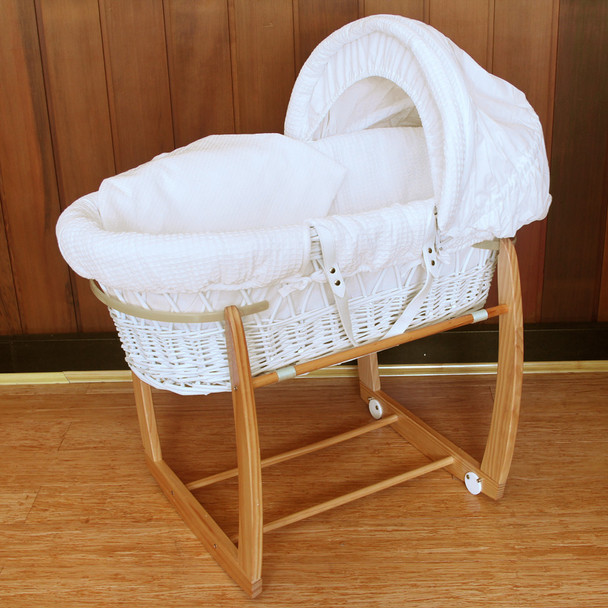 Baby Wicker Bassinet with Natural Wooden Side to Side Rocking Stand