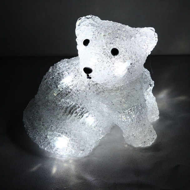 Battery Operated 13CM 3D Acrylic Sitting Baby Fox with White LED Christmas Lights