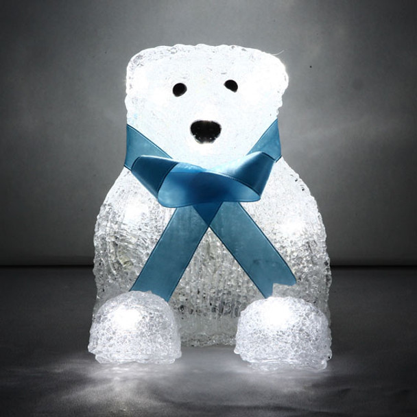 Battery Operated 14CM 3D Acrylic Sitting Baby Bear with Blue Bow Tie White LED Christmas Lights