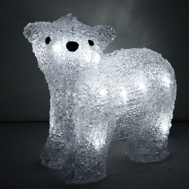 Battery Operated 24CM 3D Acrylic Walking Baby Bear White LED Christmas Lights