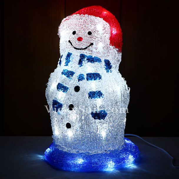 Battery Operated 33CM 3D Acrylic Snowman with Red Hat and 40 White LED Christmas Lights