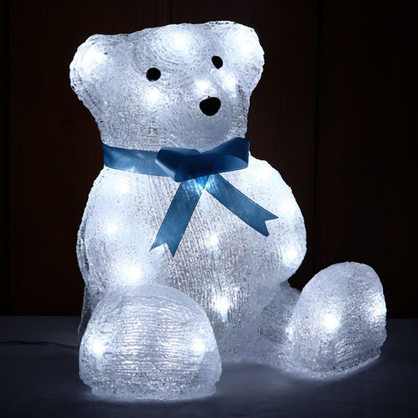 27CM 3D Acrylic Sitting Baby Bear with Blue Bow Tie White LED Christmas Lights
