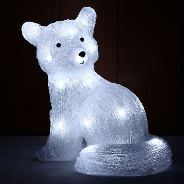 29CM 3D Acrylic Sitting Fox with White 24 LED Christmas Lights