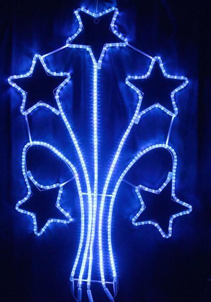 140CM LED 5 Meteor Stars Blue Christmas Lights