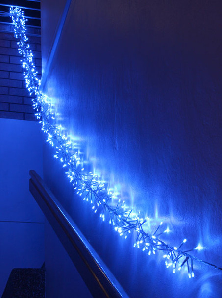 LED Blue Firecracker Chaser String Christmas Lights (Clear Wire)