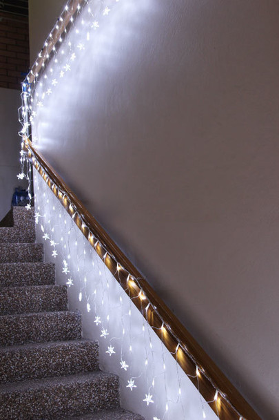 LED White Wedding Net Lights with Stars Waterfall Functions
