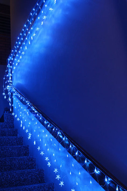 LED Blue Wedding Net Lights with Stars Waterfall Functions