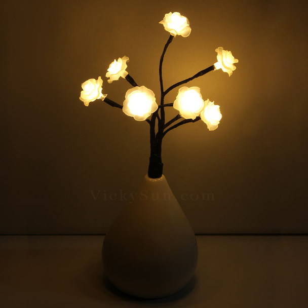 Wedding Rose Flower Warm White LED Lights in Vase