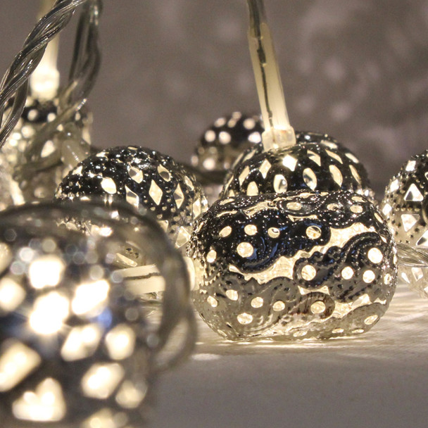 1.9M 20 LED Warm White Silver Maroq String Chain Lights
