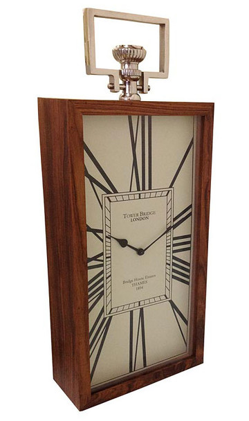 65CM TOWER BRIDGE LONDON Wooden Rectangle Wall Clock with Handle
