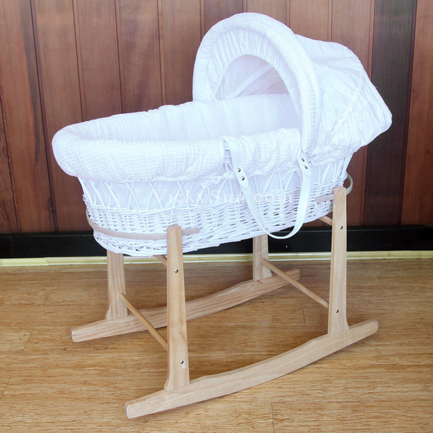 Baby Moses Basket Bassinet with Unvarnished Wooden Head to Toe Rocking Stand and Waffle White Bedding Set 8167N