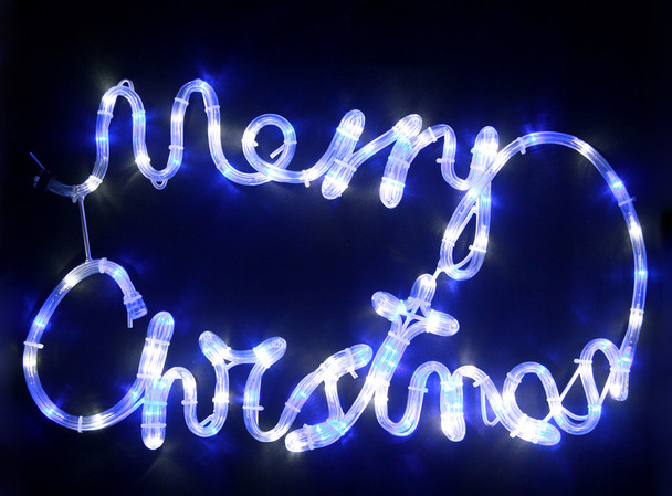 56CM LED 'Merry Christmas' Sign Blue and White Motif Rope Lights