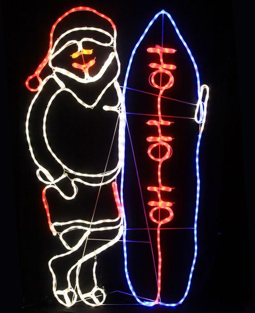 Animated 160CM LED Santa with Surfboard Christmas Motif Milky Rope Lights (36V Safe Voltage)