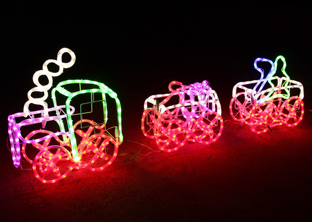 3 Set 3D LED Christmas Train Milky Rope Lights