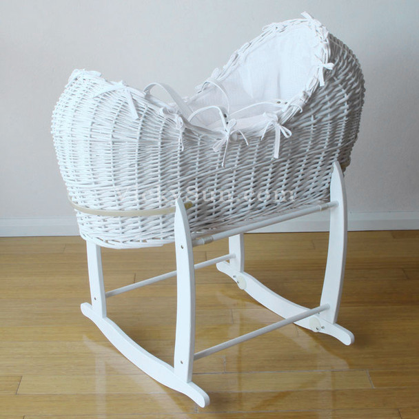 Large Luxury White Baby Wicker Bassinet with Waffle Bedding and Rocking Stand