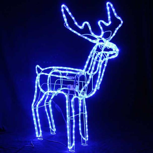 1M Animated Large LED Blue 3D Reindeer Motif Christmas Rope Lights