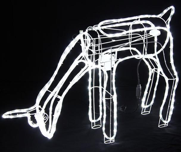 Animated Large LED White 3D Deer Doe Eating Motif Christmas Rope Lights