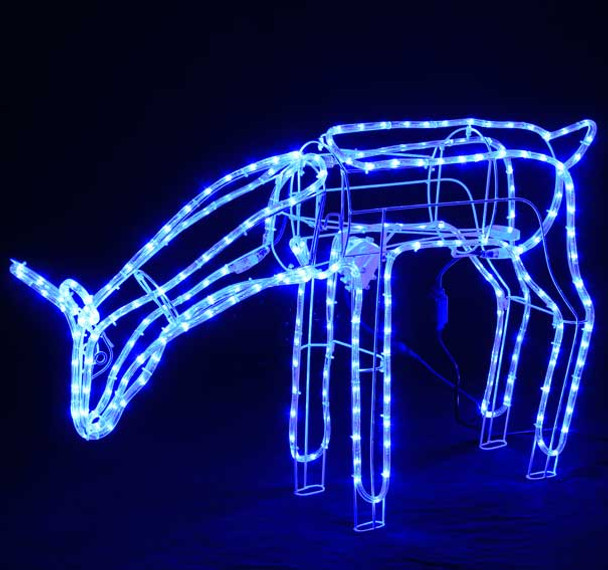 Animated Large LED Blue 3D Deer Doe Eating Motif Christmas Rope Lights