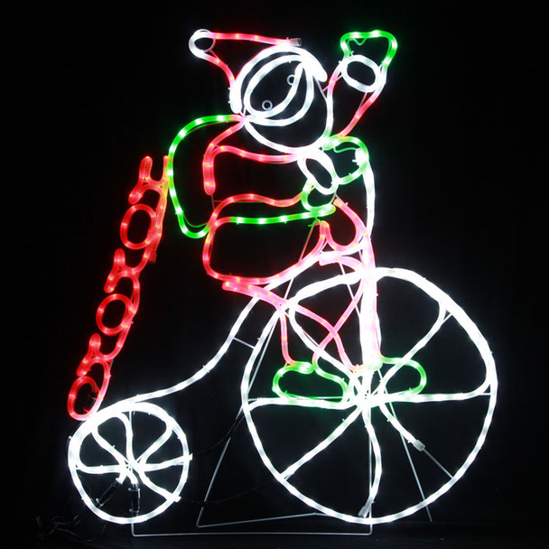 [Milky Tube] 102CM LED Santa Riding Penny Farthing Bicycle with HO HO HO Christmas Milky Motif Rope Lights (36V Safe Voltage)