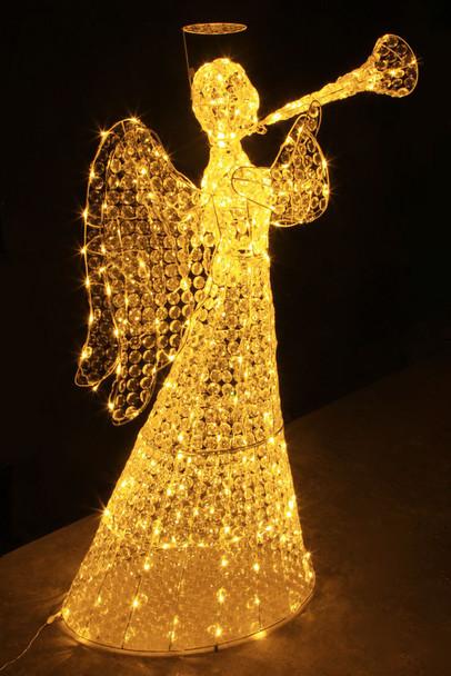 Warm White Acrylic Angel with Trumpet Christmas Wedding Lights